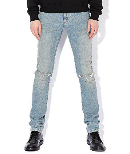 ff6b67d0d38 Wiberlux Saint Laurent Men's Vintage Ripped Knee Skinny Jeans ...