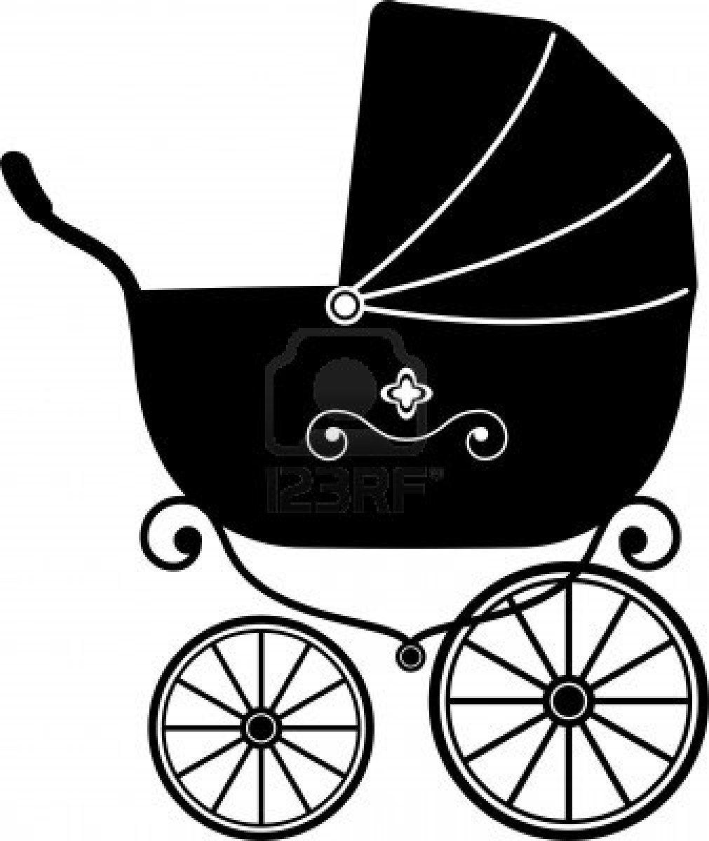 Baby Stroller Over White Silhouette Baby Strollers Baby Clip Art Stroller