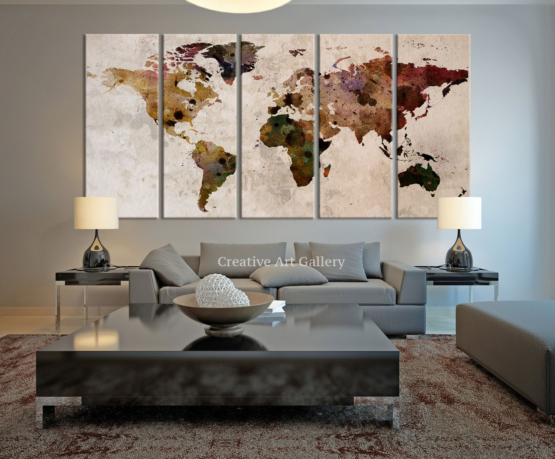 Large Canvas Print Rustic World Map Large Wall Art World Map Art