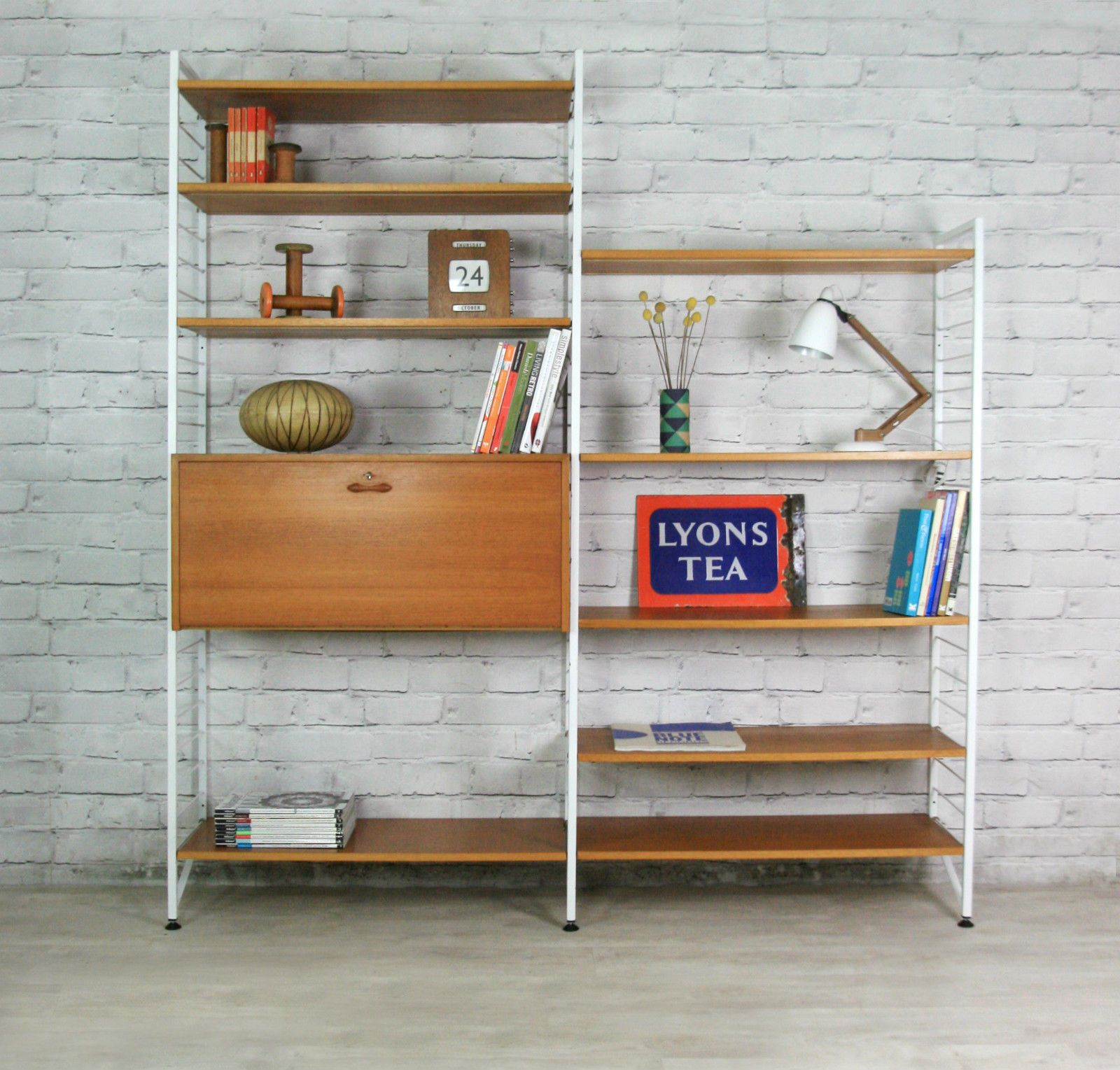 Swapping Windows And Adding Built Ins Possible Living: LADDERAX RETRO VINTAGE TEAK MID CENTURY WALL UNIT SHELVES