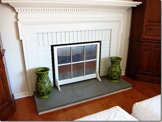 how to create a fireplace screen using a window sash