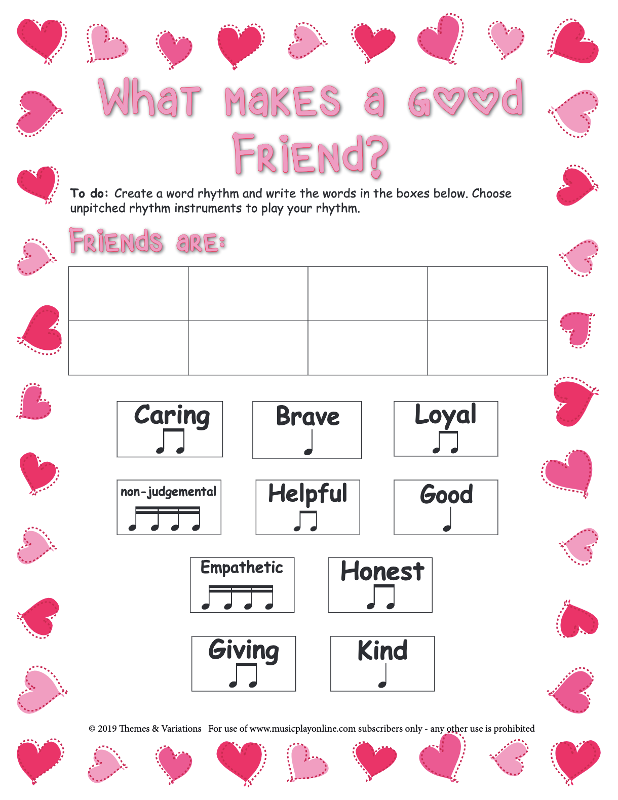Use This Worksheet To Create A Valentine S Day Word Rhythm