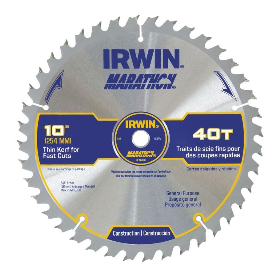 Irwin Marathon 10 In 40 Tooth Standard Tooth Carbide Circular Saw Blade 14070 In 2020 Table Saw Blades Circular Saw Blades Skill Saw