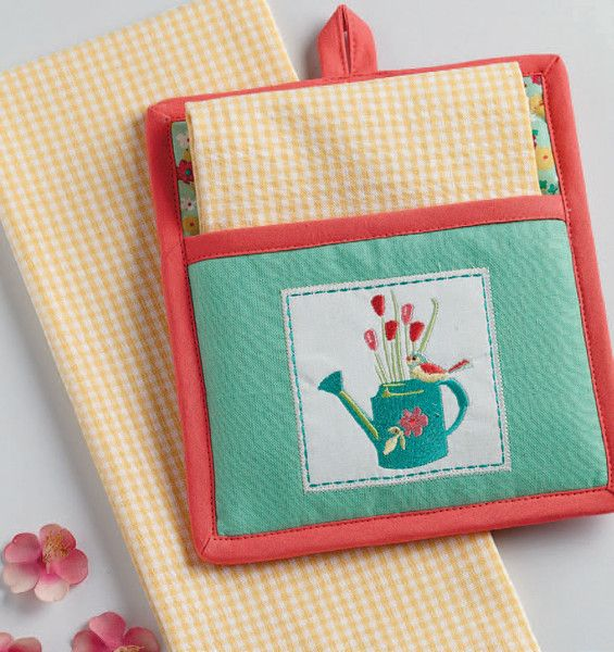 Garden Potholder Gift Set April Showers Bring May Flowers