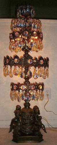 "Antique Art Nouveau Huge Bronze Crystal 44"" Tall Table Lamp Angel Cherub Vintage | eBay"