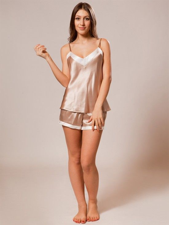 Short Ladies Silk Pajamas Set SW43CAPU   Shorts, Shape and Feminine