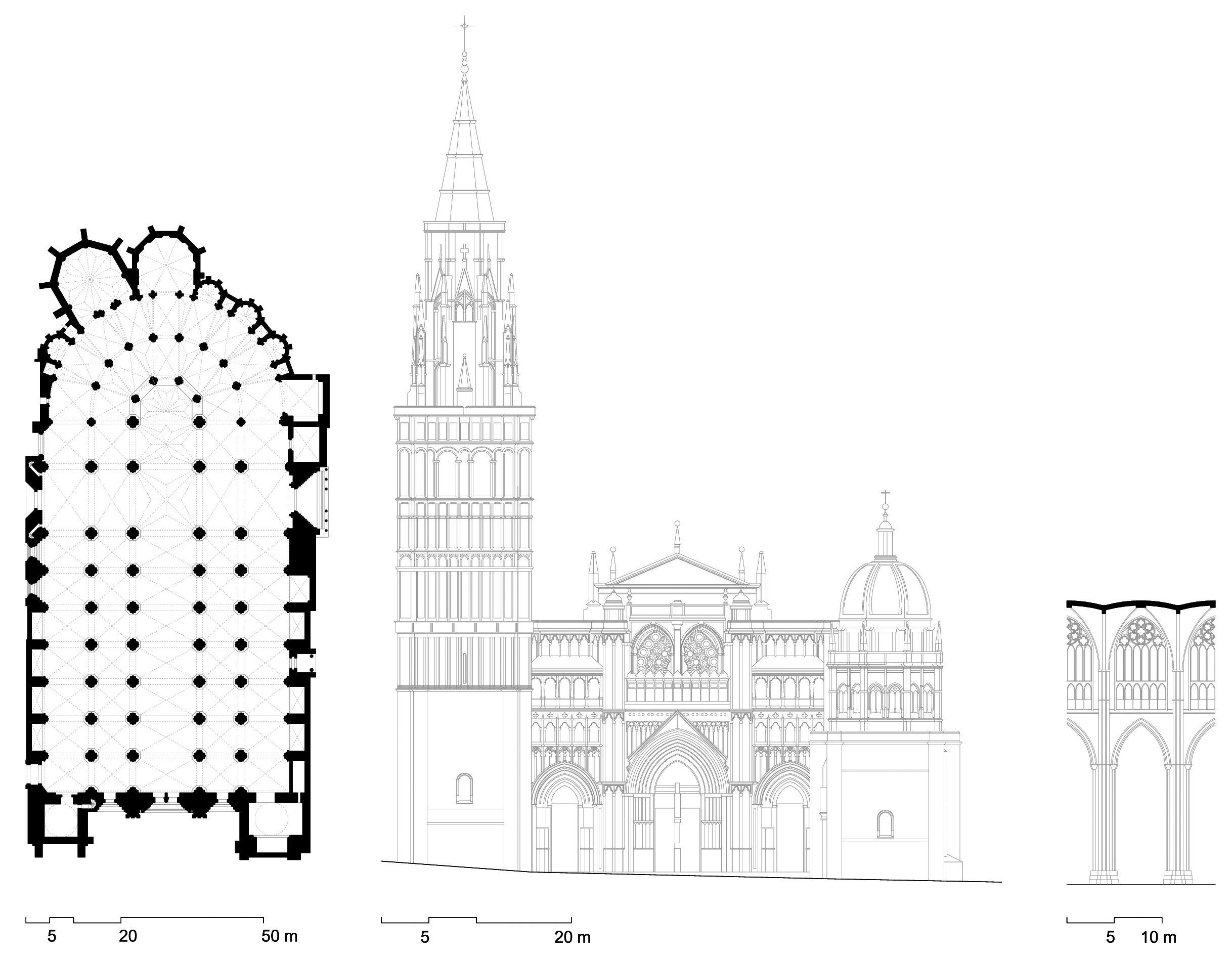 Planta alzado y corte interior de la catedral de toledo - Alzado arquitectura ...