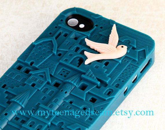 iPhone 4 Case, iPhone 4s Case, dark green European Style Building Hard Case for Apple iPhone 4 Hard Case, with a lovely pink bird --SALE