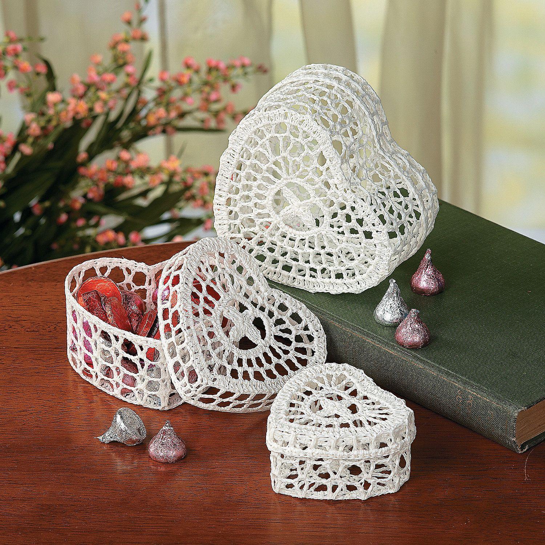 Crocheted Heart Boxes - TerrysVillage.com