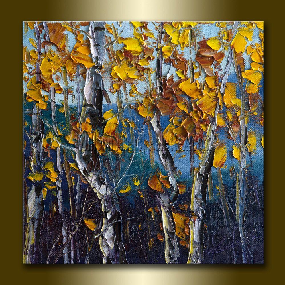 Autumn birch original textured palette knife landscape for Texture painting ideas canvas
