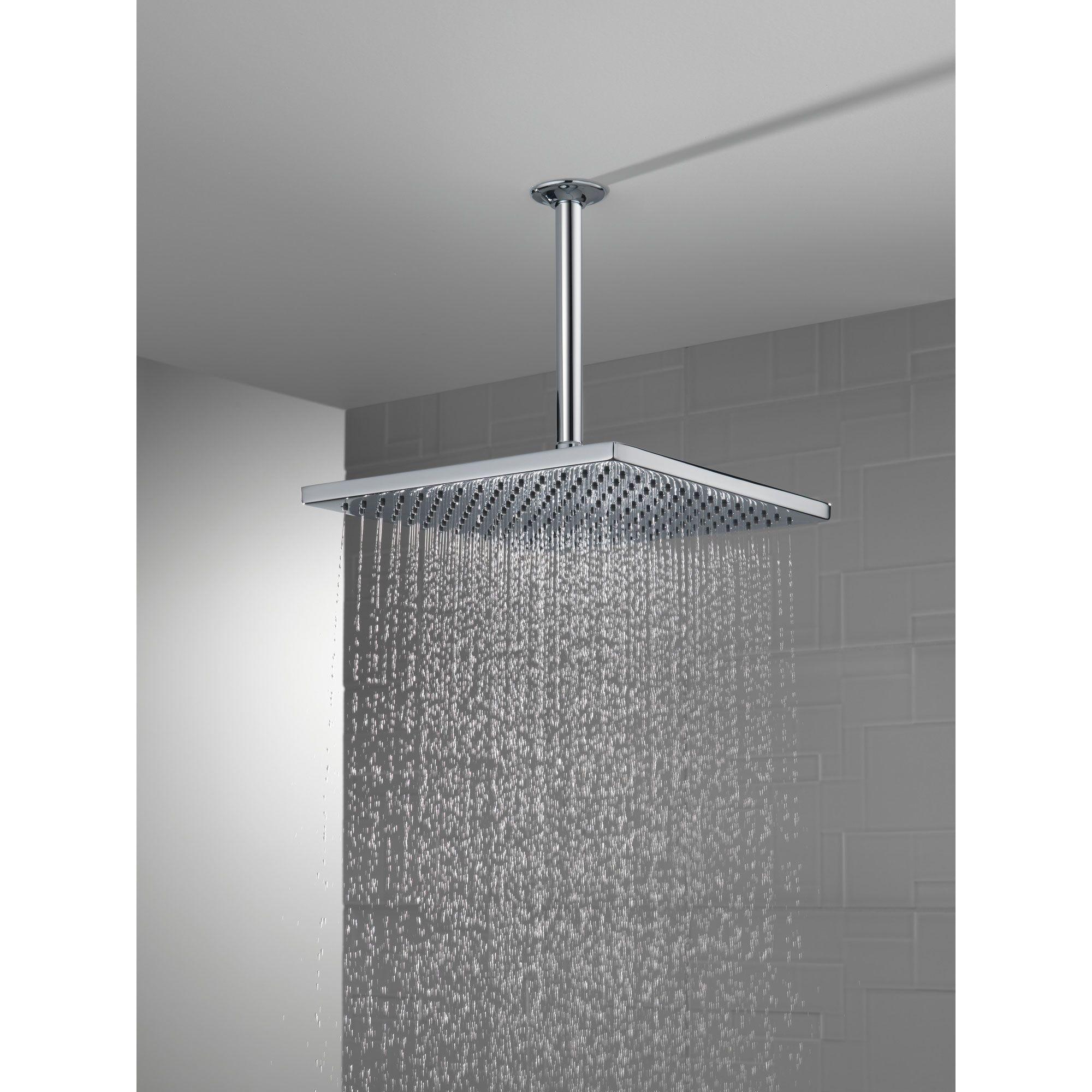 Delta Chrome Finish 11 3 4 Large Square 2 5 Gpm Single Setting Modern Metal Raincan Shower Head D5215925 In 2021 Rain Shower Head Rain Shower Shower Heads