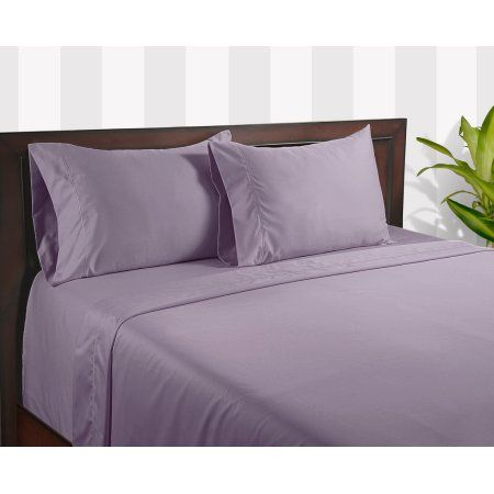 Egyptian Bedding 100% Egyptian Cotton 600 Thread Count 4 Peice Bed Sheet Set, Lavender Solid, California King Size, Purple