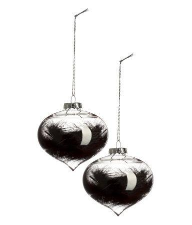 2 kpl joulukuusenpalloja | Kirkas lasi/Musta | Home | H&M FI