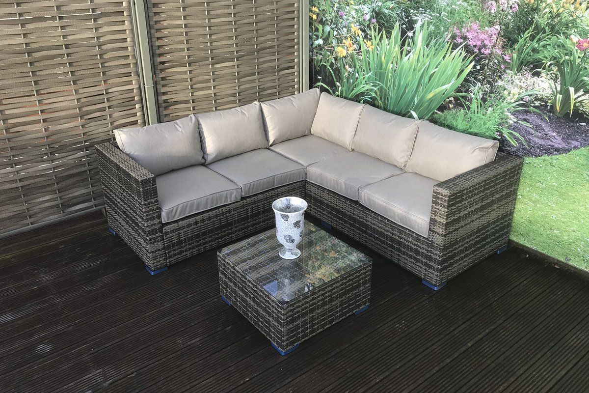 Ridgemoor 9 Seater Rattan Corner Sofa Set Pool Patio Furniture Backyard Furniture Rattan Corner Sofa