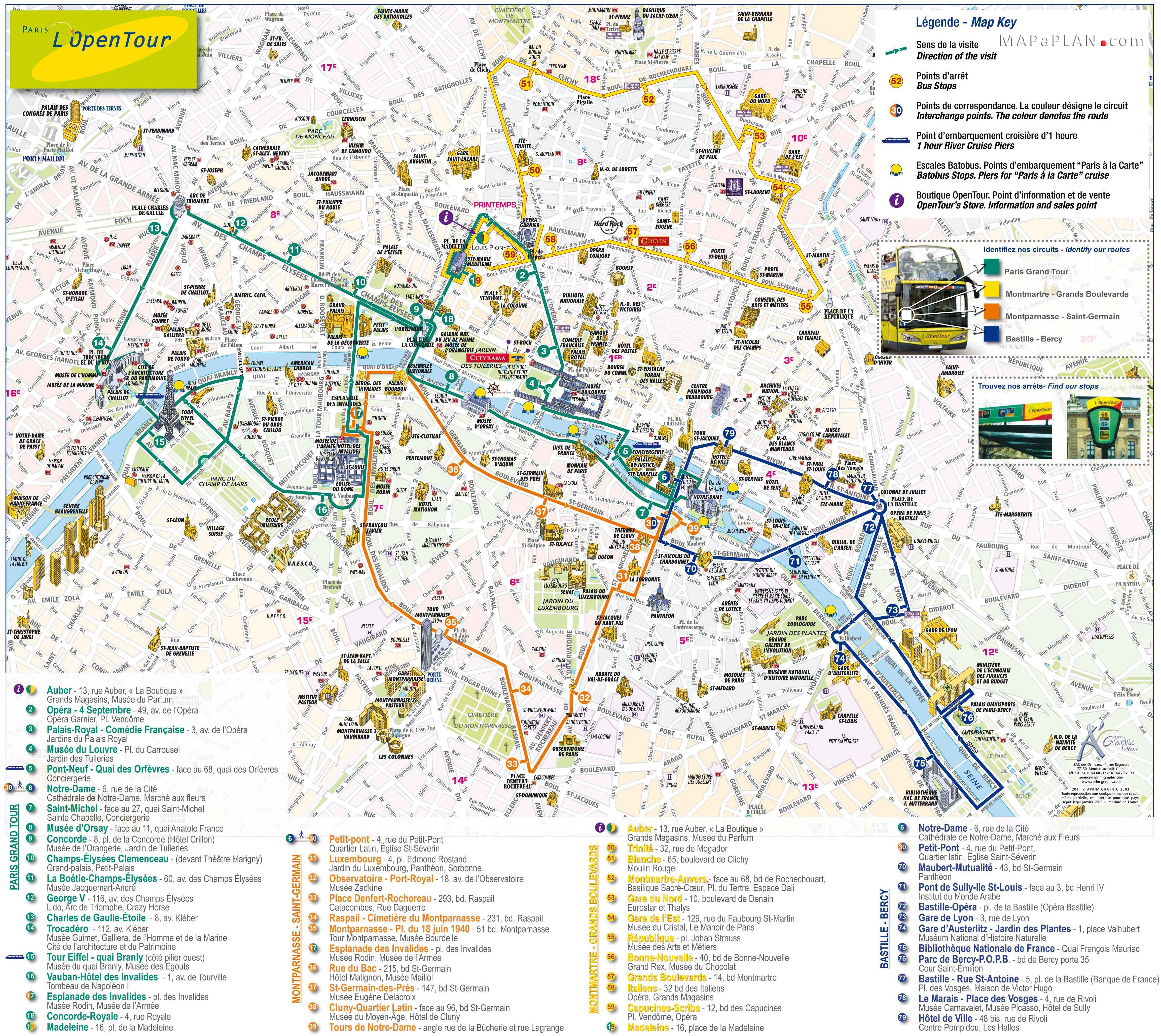 Paris Bourges Bus Paris Top Tourist Attractions Map L Open Tour Double Decker Bus