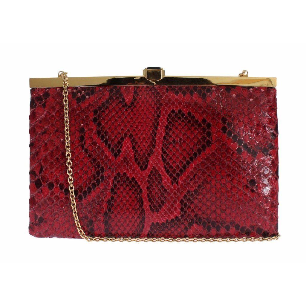 dbb91e2aa3 Dolce   Gabbana Bag Red Python Snakeskin Shoulder Crystal Clutch ...