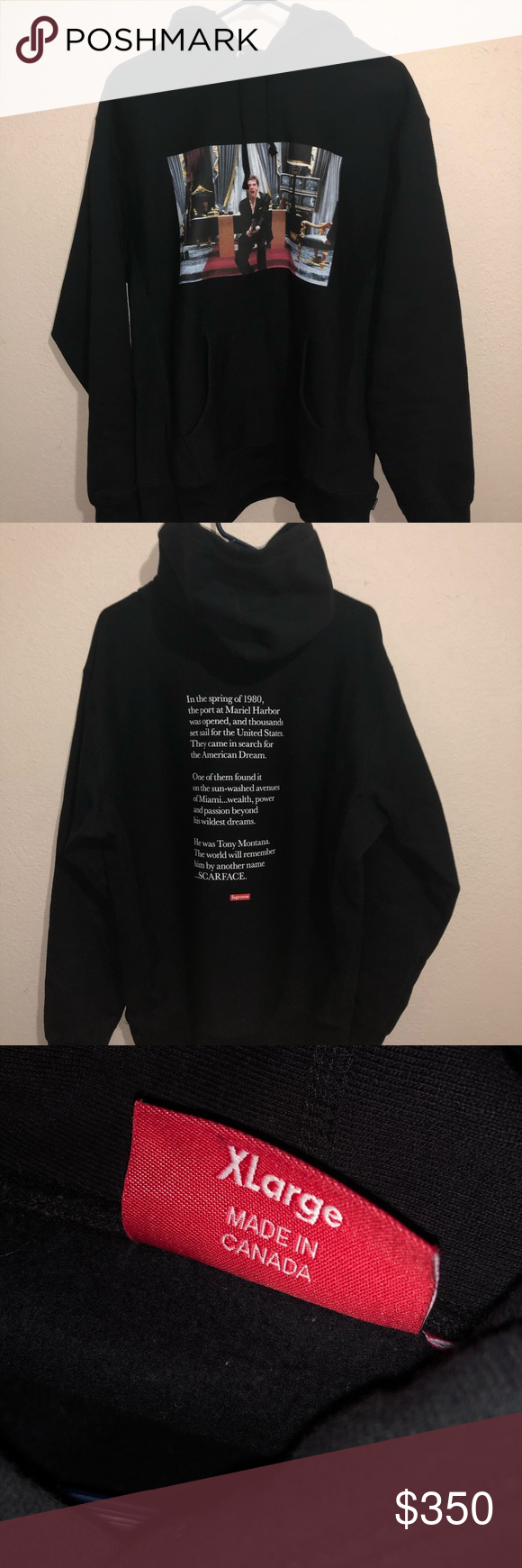 Supreme Scarface Hoodie 9 10 Xl But Fits More Like L Supreme Scarface Friend Hooded Black Supreme Sweaters Supreme Sweater Hoodies Clothes Design [ 1740 x 580 Pixel ]