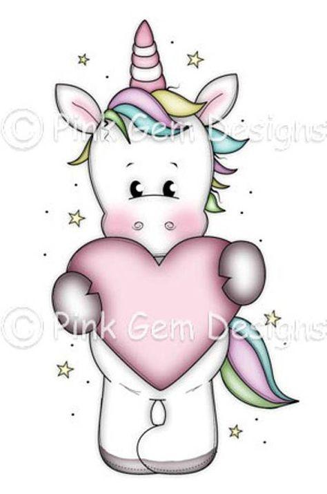 Photo of Digi Stamp  'Unicorn with Heart' – Birthday, Party Invitations, Valentine