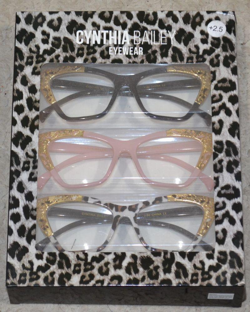 CYNTHIA BAILEY NEW 3 Reading Glasses Black Pink Animal