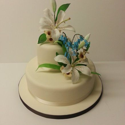 Bluebells [Harebells] and Lilies Wedding cake