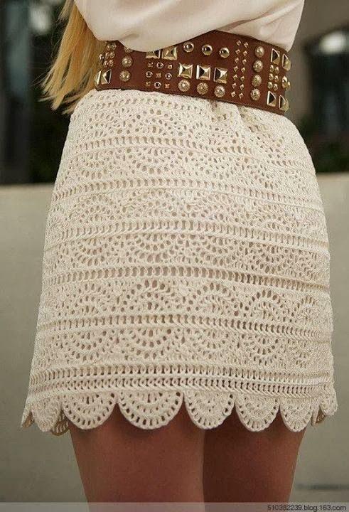 crochelinhasagulhas: Saia branca de crochê | croche roupa ...