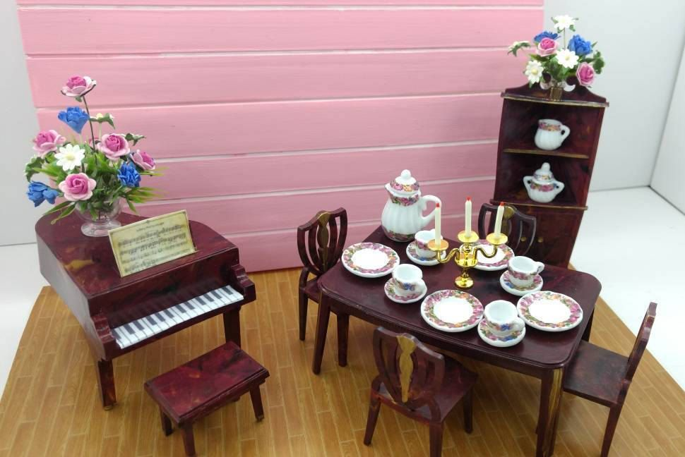 Jaydon Dinner Party Dining room and Grand Piano Doll House Toy ...