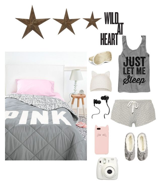 """""""sleep wear"""" by kitkatlolxp ❤ liked on Polyvore featuring Eberjey, H&M, Iluminage, Topshop, Monster and Kate Spade"""