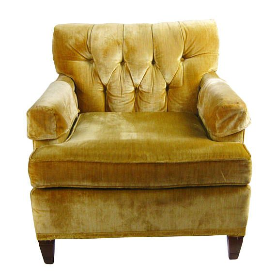 Vintage North Hickory Furniture Company Yellow Gold Tufted Velvet Lounge  Side Chair, Arm Chair,