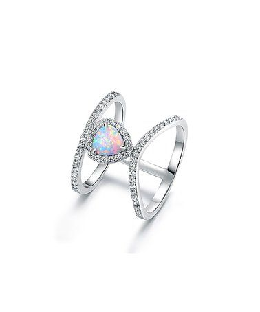 Loving this White Fire Opal & Cubic Zirconia Cuff Ring on