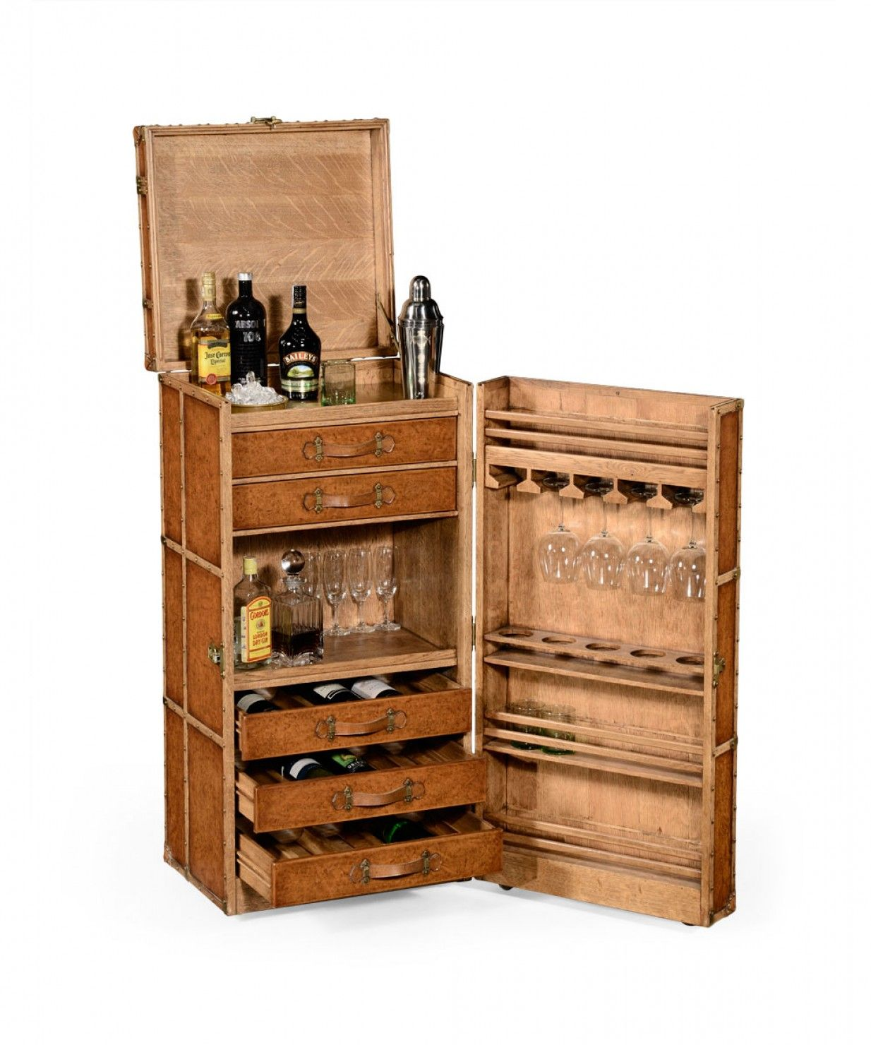 Furniture Beverage Storage Travel Trunk Style Wine And Cocktail Cabinet Furniture