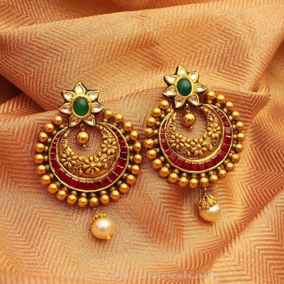 Top 25 Indian Antique Jewellery Designs For Women: Gold Antique Kundan Earrings