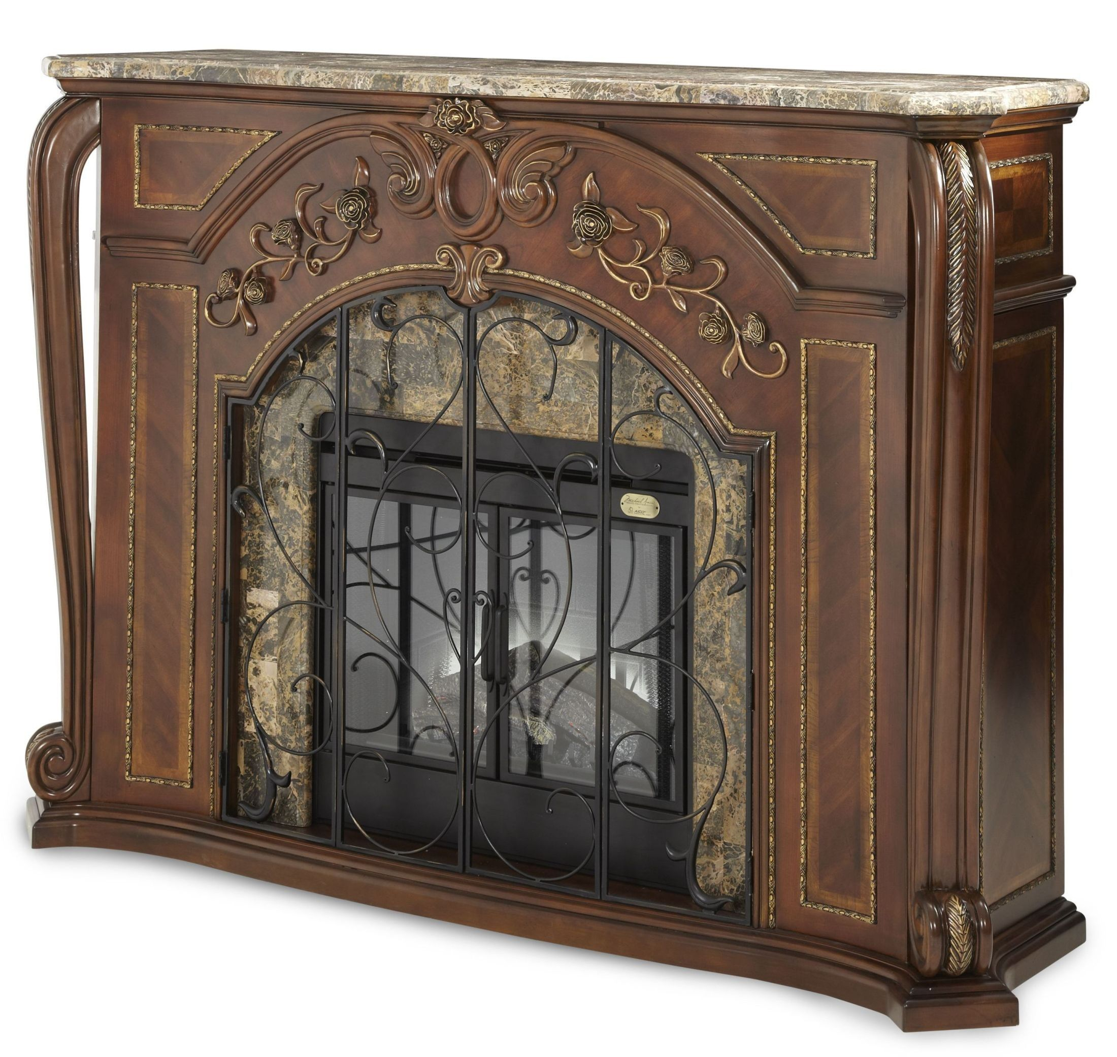 Oppulente Sienna Spice Marble Top Fireplace