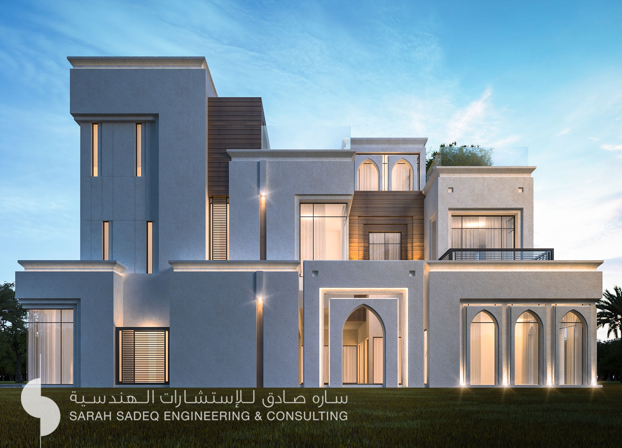 500 m private villa kuwait by sarah sadeq architects for Classic architecture homes
