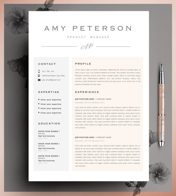 Professional CV, Curriculum Vitae, 2 Page Resume,  Simple Resume, CV Template, Resume For Mac, CV Design, Instant Download + Cover Letter