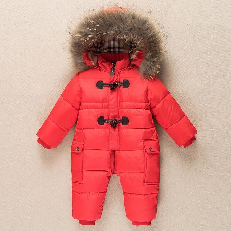 f14e7c014873 Winter Kid Baby Romper Natural Fur Clothes Newborn Warm SnowSuit ...
