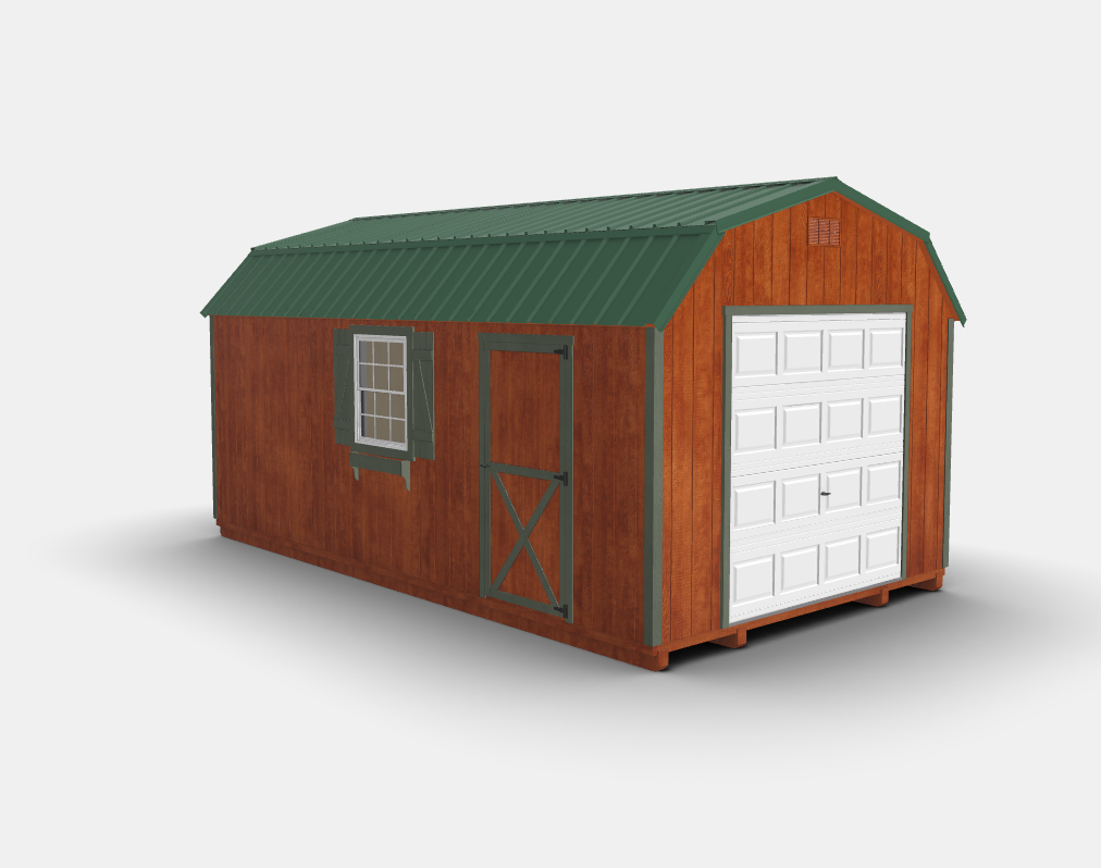The Gambrel Storage Shed Is A Spacious Garage With Traditional Barn Roof That Gives Plenty Of Headroom Like All Our Sheds Has