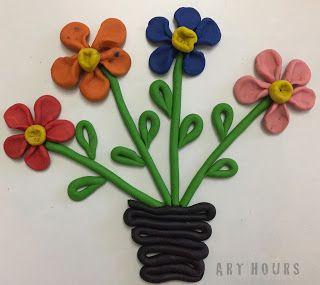 clay art flower pot Clay flower pot 2D clay modeling idea for kids  Clay art for kids
