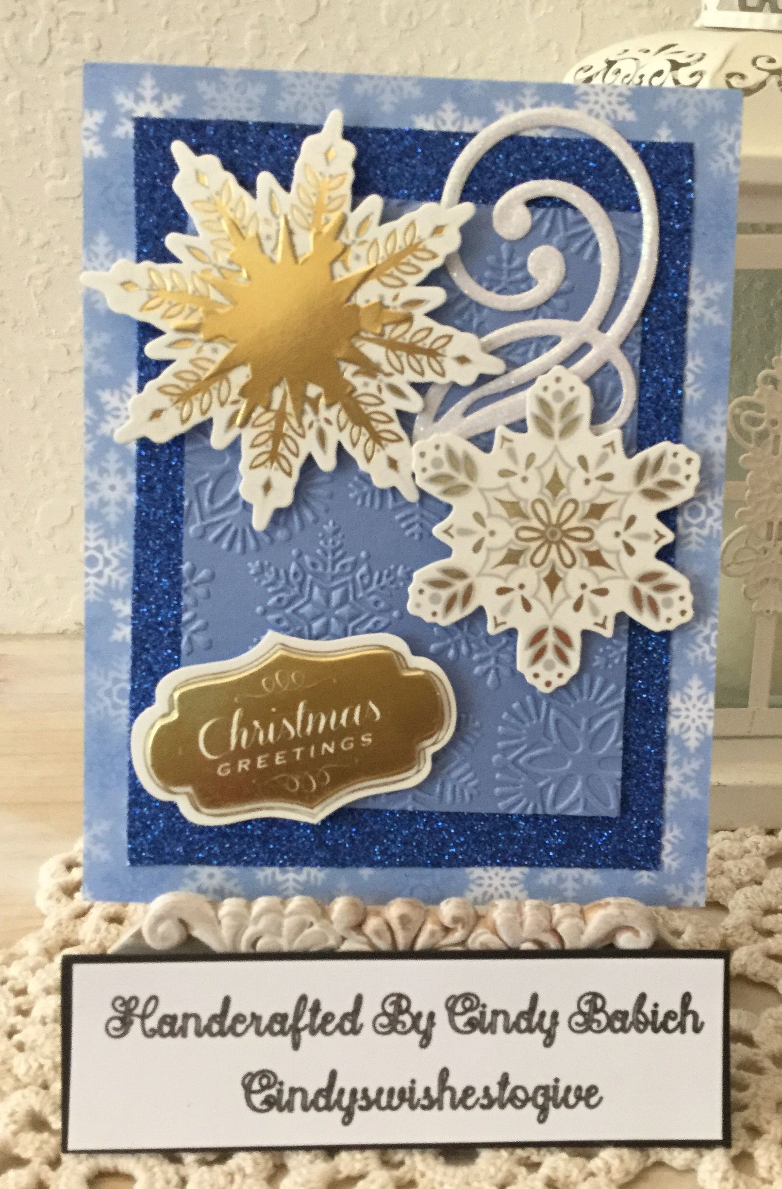 Christmas Card Made With Anna Griffin Grand Snowflakes Embossing