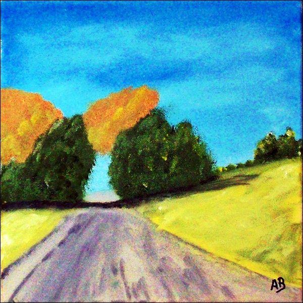 Landschaft Felder ölmalerei Feldweg Hügel Bäume Wald Himmel