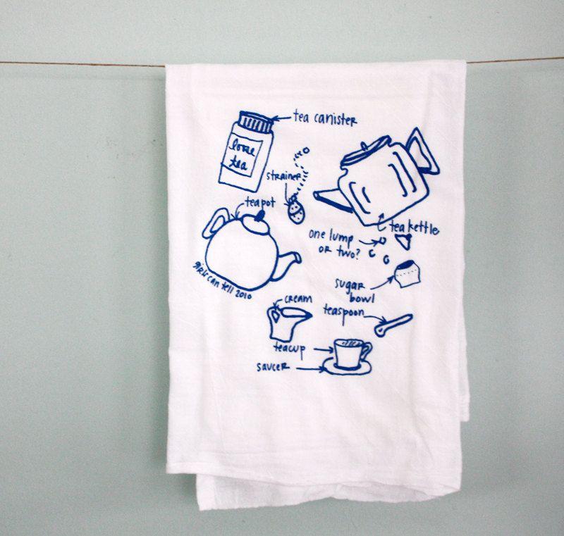 Tea Time towels - single floursack towel. $14.00, via Etsy.