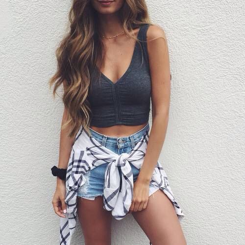 20+ High Waisted Shorts With Crop Top  PNG