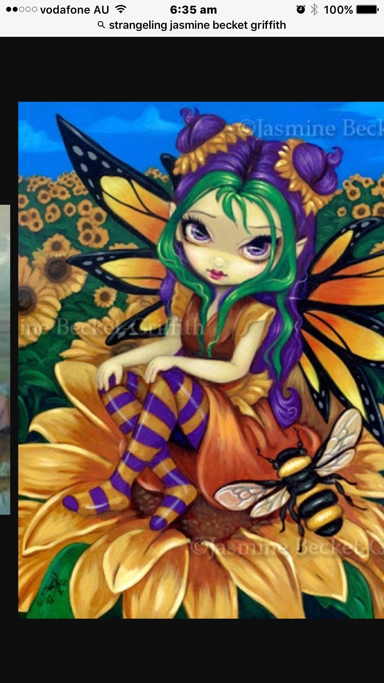 Jasmine Becket-Griffith art print SIGNED Sitting on a Sunflower flower fairy pop