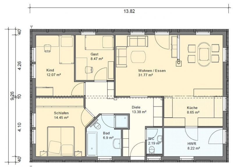 BGXL2 Bungalow Grundriss 115qm 4 Zimmer Garage Grundriss