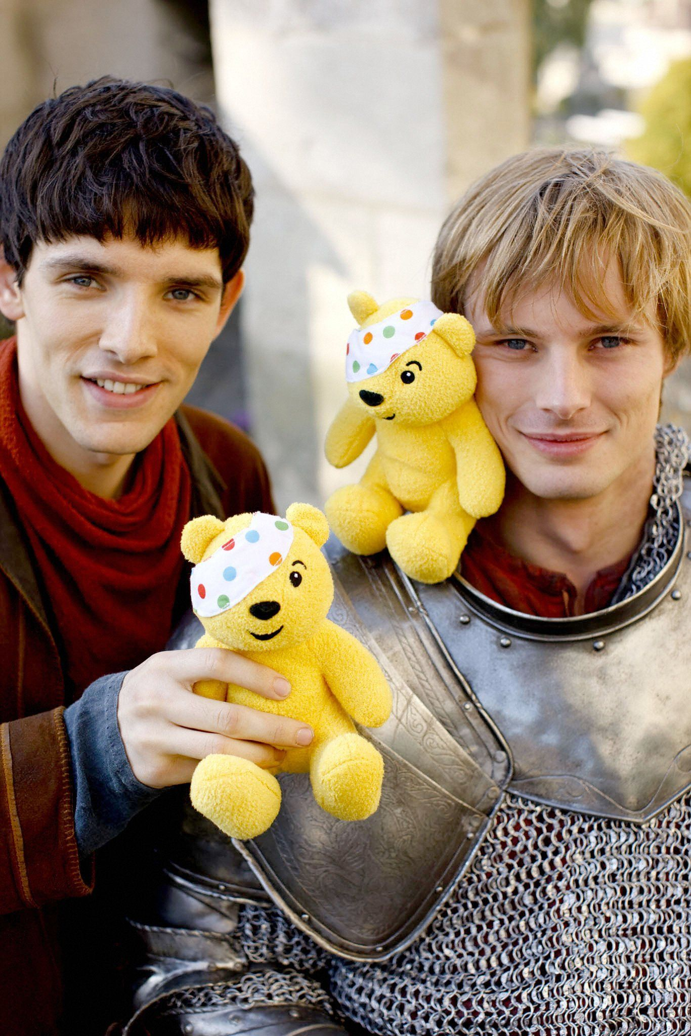 Merlin And Arthur Promoting Charity Bradley James Colin Morgan Merlin And Arthur