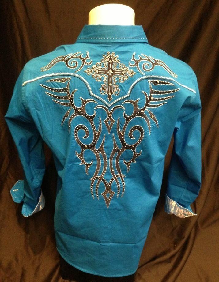 Victorious Cross Stone Button Down Dress Shirt Blue Roar With Excitement SH374 #ButtonFront