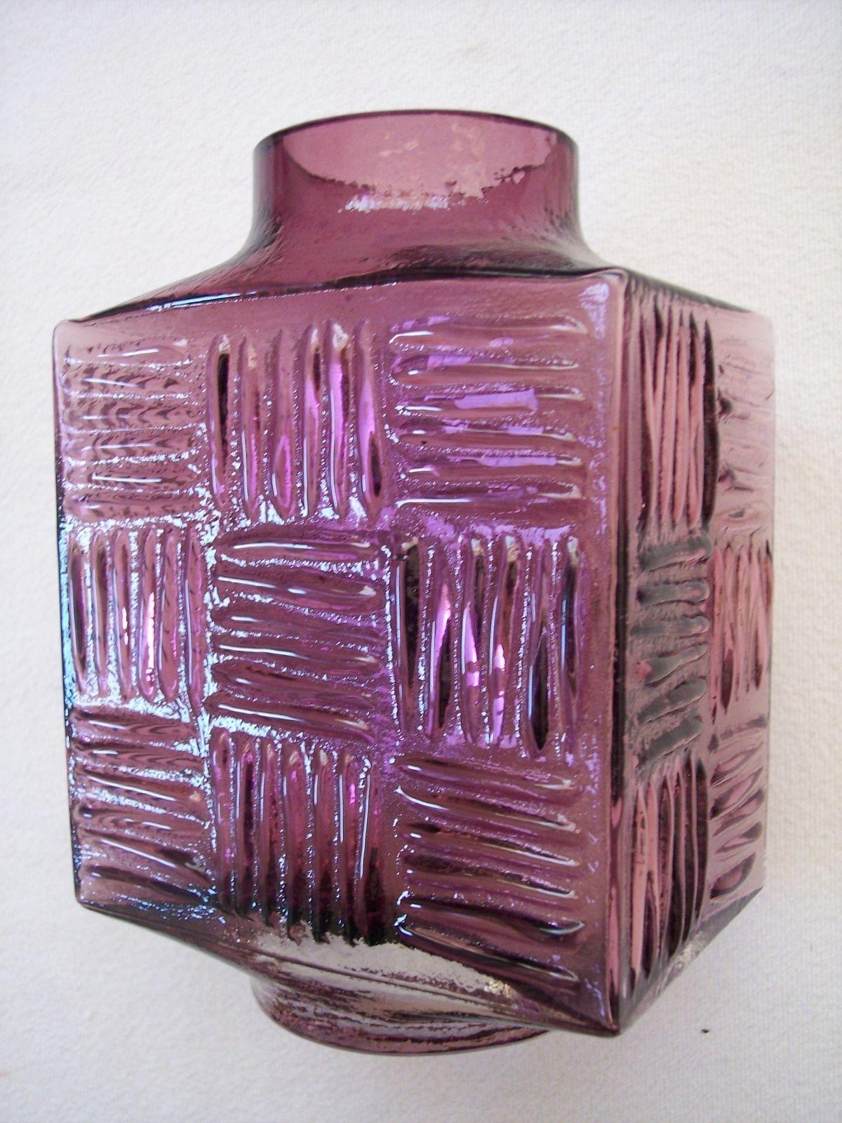 Whitefriars Stitched Cube Vase Square Pattern Vase Aubergine Geoff Baxter   eBay