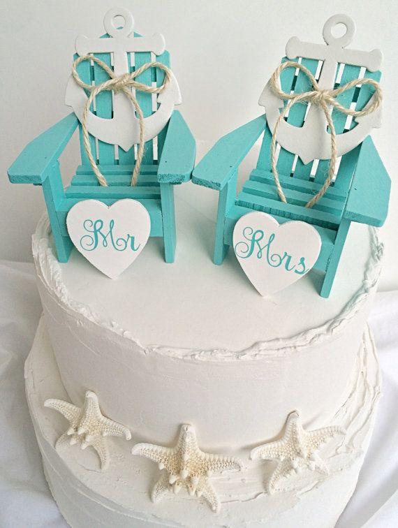 Nautical wedding cake topperbeach wedding cake toppermini beach wedding cake toppermini adirondack chair setbeach weddingnautical wedding junglespirit Images