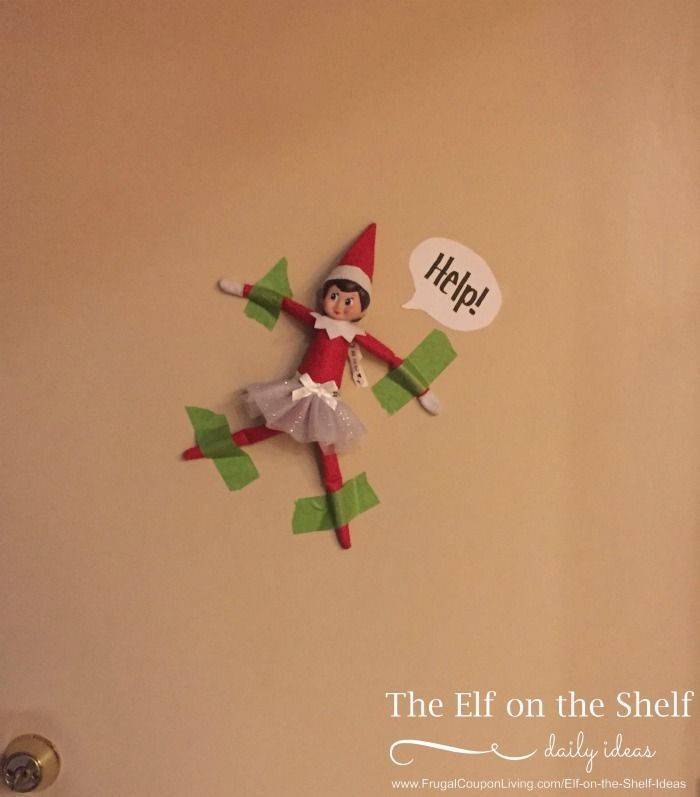 Elf on the Shelf Ideas | Elf is Taped to the Wall