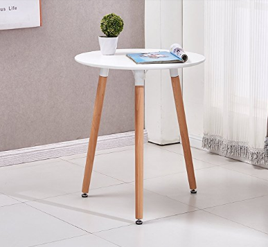 Ospi Scandinavian White Round Coffee Table Office Lounge Living Room And Wood Triangle Accent 3 Legged Coffee Table White Round Coffee Table Round Coffee Table