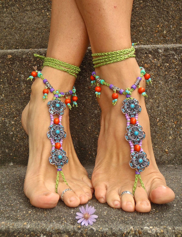 b0b184794c4b9a OASIS BAREFOOT sandals WEDDING barefoot Sandals slave Anklets crochet  Sandals sole less shoes crochet anklets Blue antique flowers.  99.00